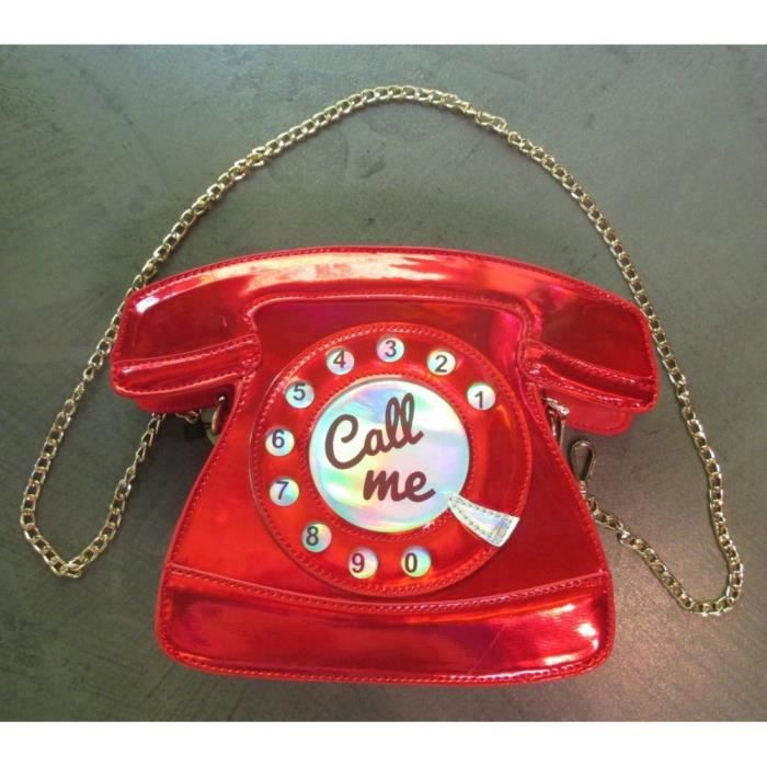 sac a main telephone call me rouge brillant pinup retro