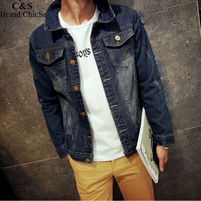 Mode Veste Causal Manche Jeans Longue Nouvelle Taille Homme Grande 7dx0Zntqw