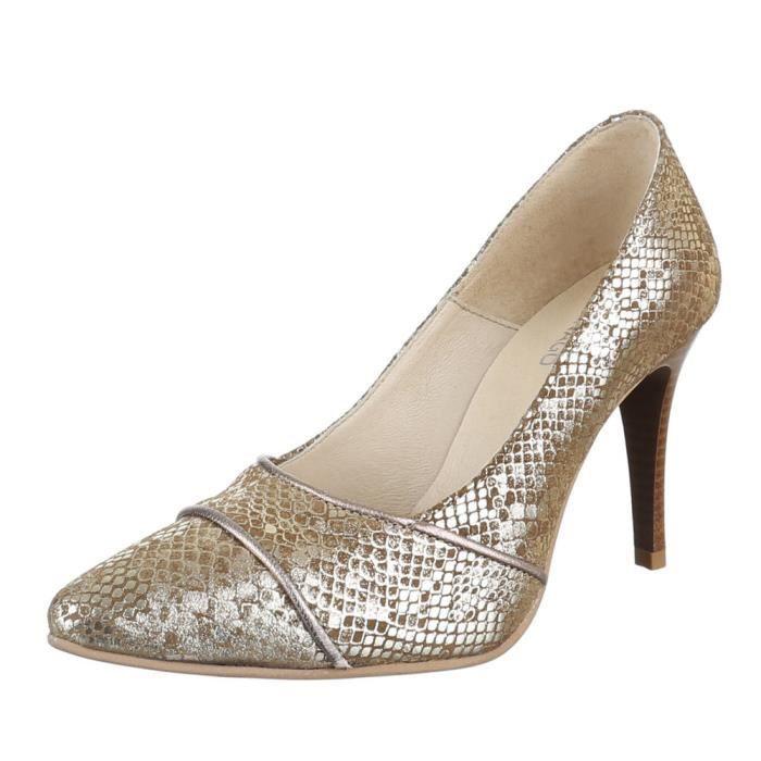 Chaussures femmes Escarpins cuir Talon haut or