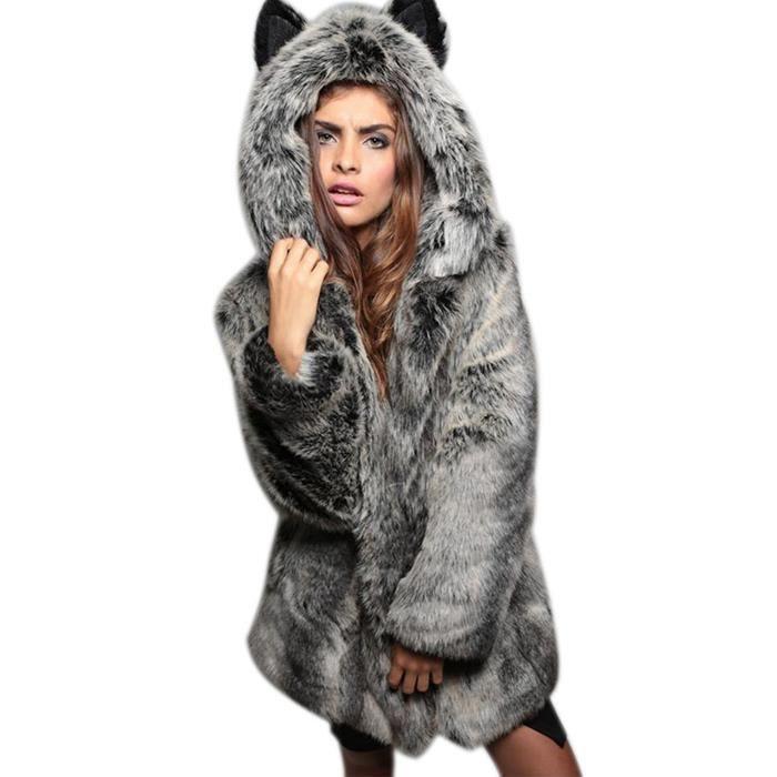 5792524fa0b27 Manteau femme Finejo Long fausse fourrure à capuchon chic Gris Gris ...