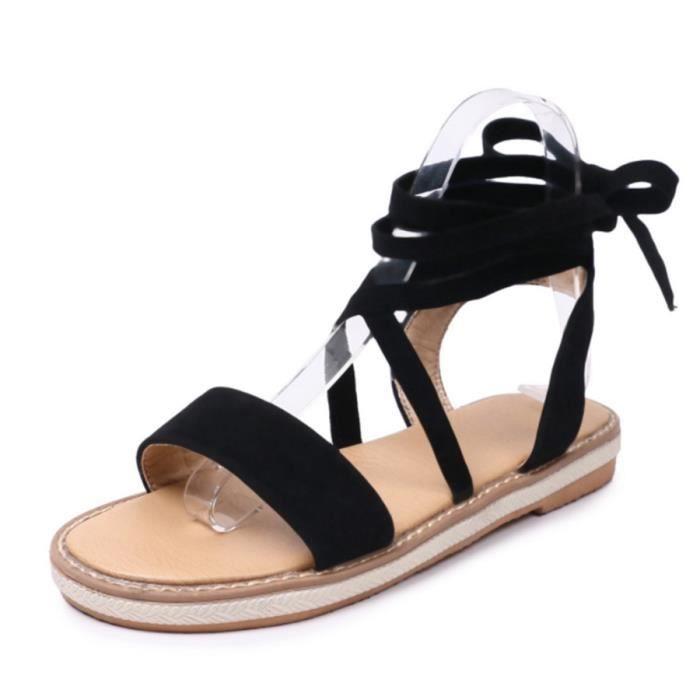 Noir À Talons Chaussures Sandales Spartiate Montante Plates Femme 80wOPvNymn