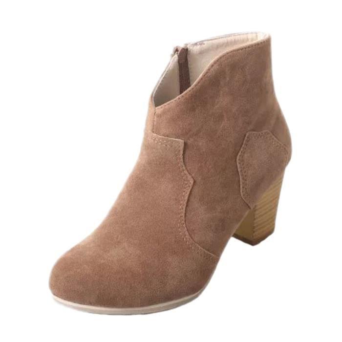 Femme Haute Épais Cheville Hiver Courtes Classiques Talon Rond Bout Talon Automne Mode Suède Minetom Chaussures Bottes Chelsea 0OPnN8wkXZ