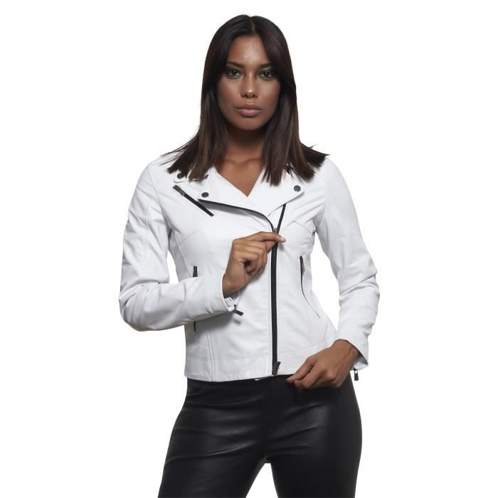 8c07d2ac71a4 KBC • couleur blanche • veste en cuir femme perfecto cuir plongé ...