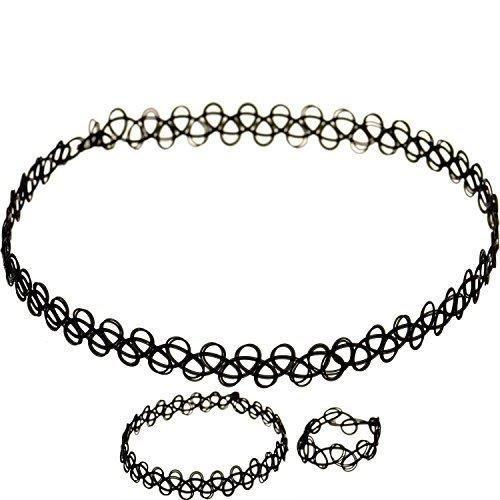 b659cde643d6e Noir Lot de 3 Collier ras du cou bracelet bague stretch Tattoo Rétro  Vintage DENTELLE POUR FEMMES DAMES FILLES par Trimming (TS6266)