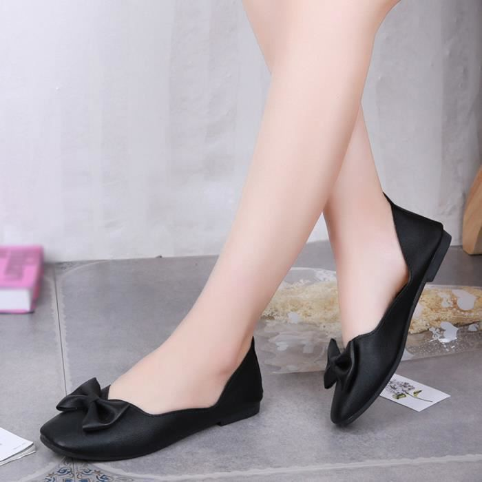 Extensible Casual Bout On Chaussures Talon Plat Pointu Shoes Femme En Slip noir Tissu tw1fnqRB1