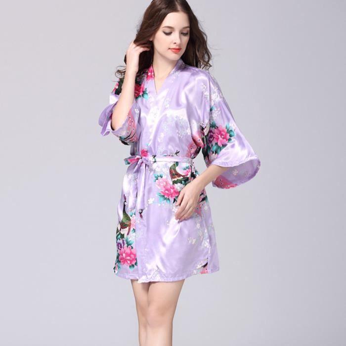 Mi Chemisier Top En Pyjama Satin Notte Imprimé nuit Femmes Les Violet Ont Manches wFpqI0vAP
