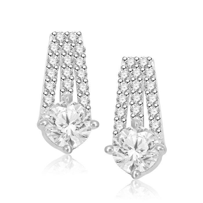 Pendentif femme Set pour et boucles doreilles en diamant plaqué argent américain Cz Pt208 E38RR