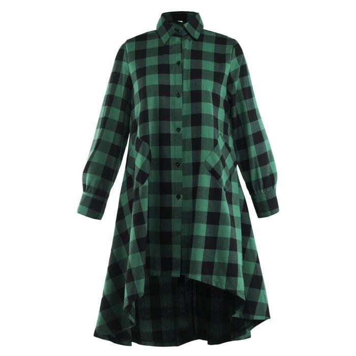 Robe Casual Loose Women Dress Tartan Chemise à manches longues Robe Haut Bas évasé longue chemise 2E6S45 Taille-34