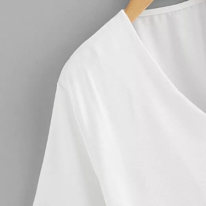 Casual V T Chemisier Bouton Neck Rt5489 Courtes Tops Pocket shirt Femmes Manches nwm80N