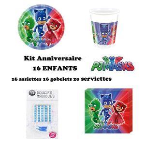 KIT DE DECORATION Kit PJ MASKS Pyjamasques 52 pièces Anniversaire Fê