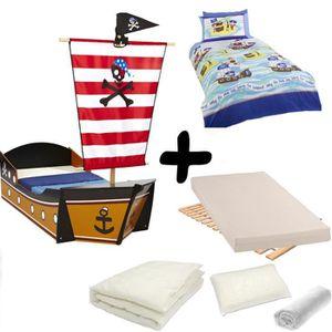 Pack Complet Lit Enfant Bateau De Pirate Lit Matelas Parure