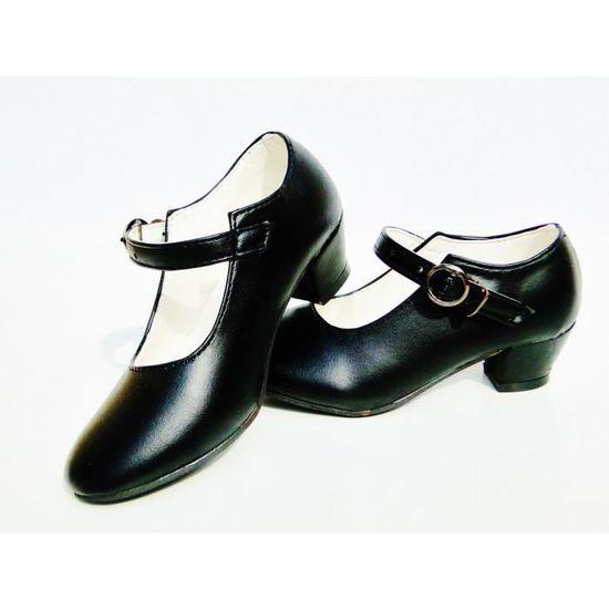 Chaussures escarpin noir de danse FLAMENCO fille enfant fillette Noir Noir - Achat / Vente escarpin