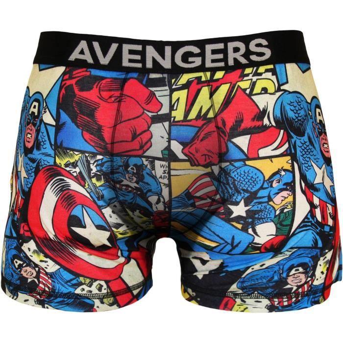 Boxer Homme Marvel Imprimé Héros Avengers - Bleu et rouge