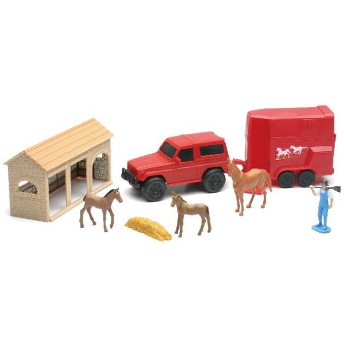 NEW RAY Ferme Vehicule Animaux Accessoires - Miniature - 26,5 cm