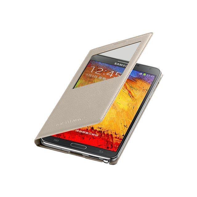 SAMSUNG Etui à rabat à zone transparente pour Samsung Galaxy Note 3 - Beige