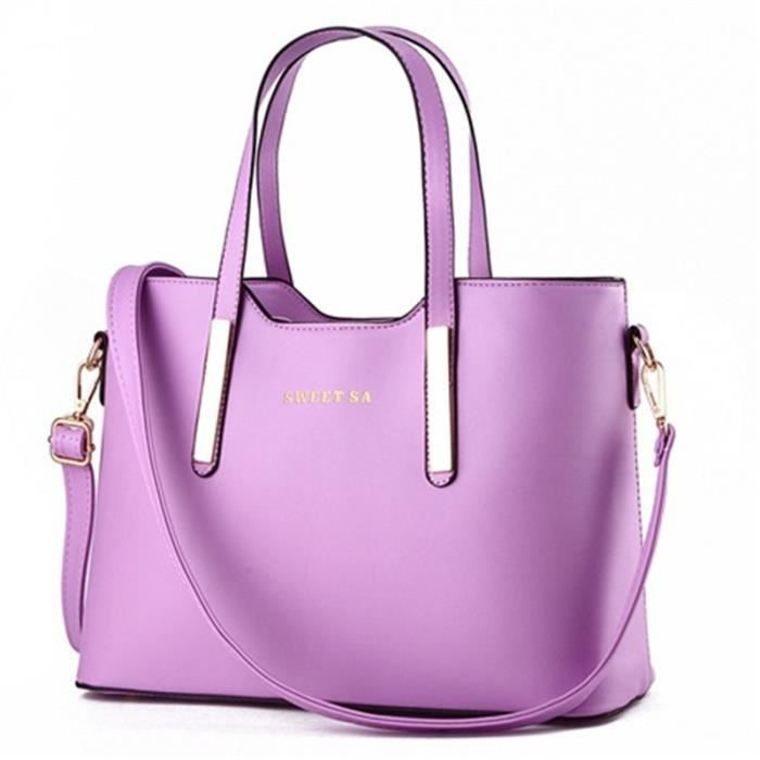 Sac à Main En Cuir à Main Pour Femme,Purple