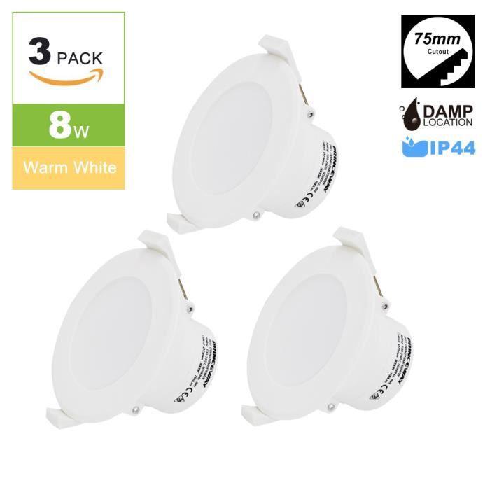 Spot Led Lampe Plafond Plafonnier Encastrable Ip44 Chaud 3000k Φ75mm 3 Blanc 220v Lot 8w Eclairage Trou De wk8n0OP
