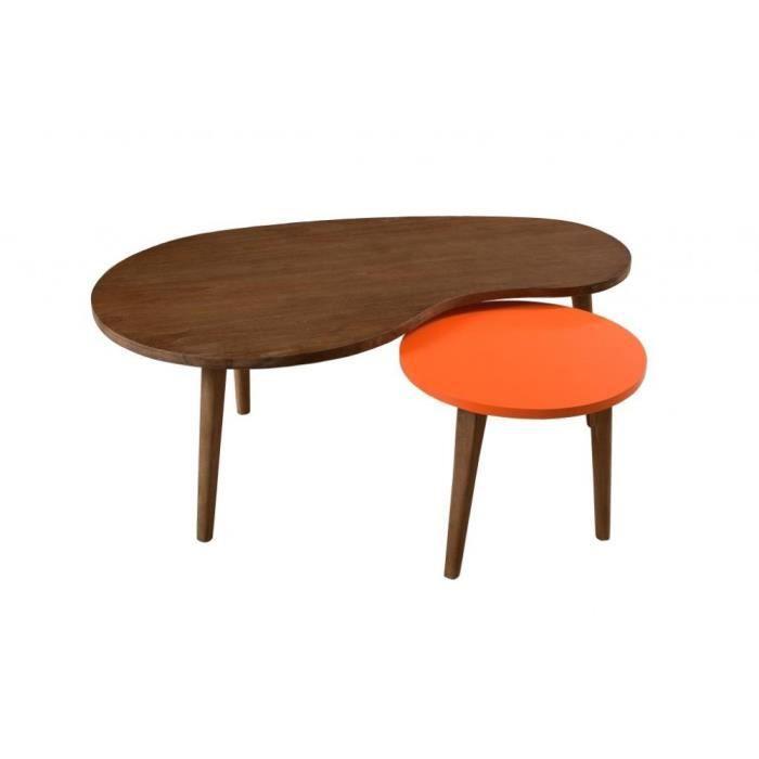 lucien tables gigognes vintage cannelle orange bois 100cm - Table Gigogne Vintage