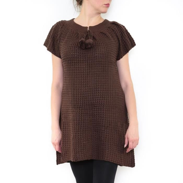 3f20bd339b5 Robe Tricot Femme Manches Courtes Laine Pull Marron Marron - Achat ...