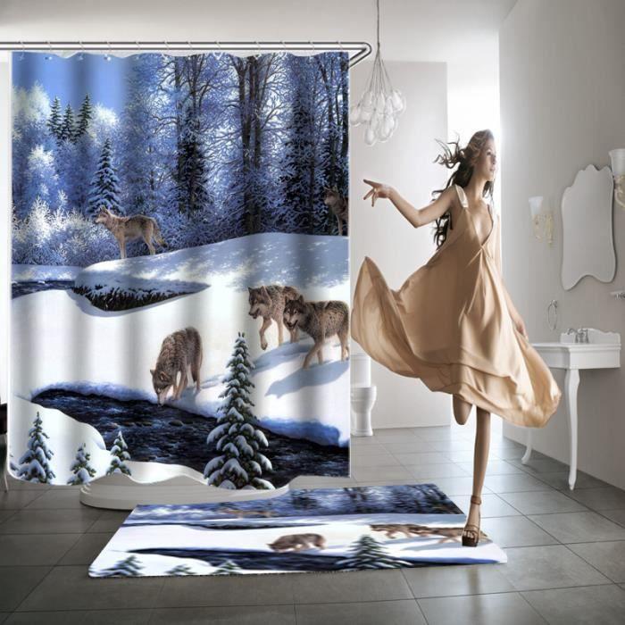 rideau de douche loup 3d effect imperm able 180 x 200cm achat vente rideau de douche cdiscount. Black Bedroom Furniture Sets. Home Design Ideas
