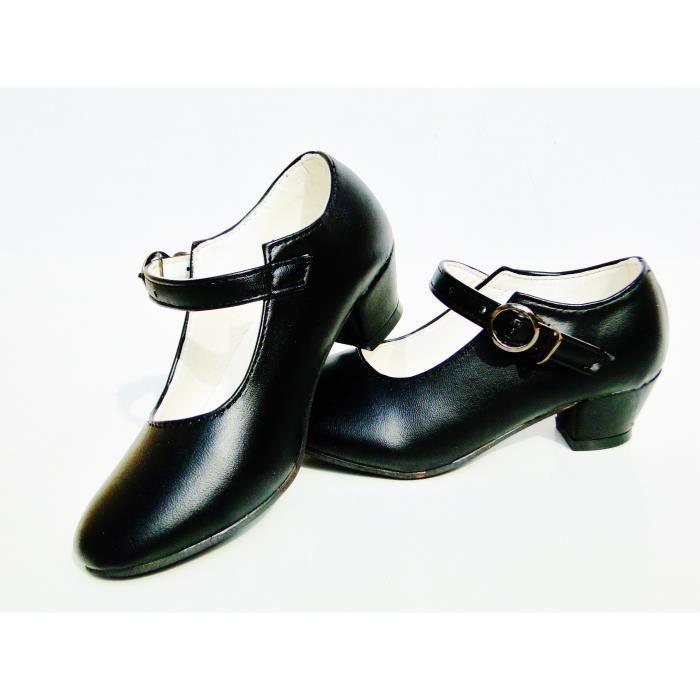 0844ab97c83 Chaussures escarpin noir de danse FLAMENCO fille enfant fillette ...