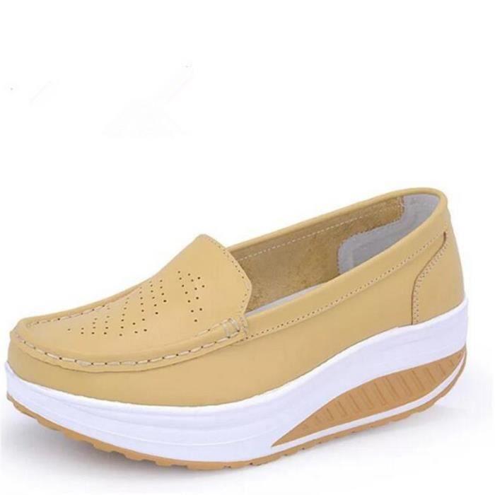Sneaker femme Chaussures ascenseur De Marque De Luxe Chaussures femmes Nouvelle Mode en cuir Moccasins Grande Taille 35-41