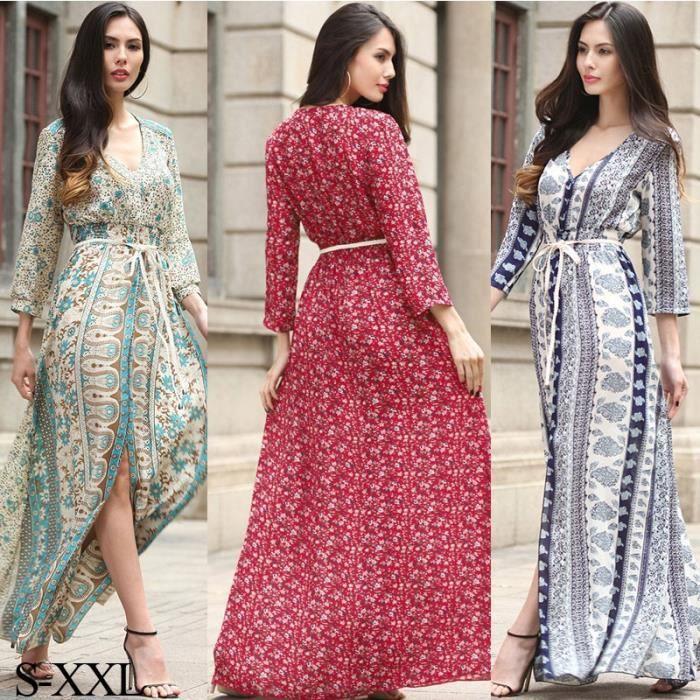 Femmes Vintage bohème à imprimé floral Robe Fractionnement Maxi Robe ample plage Robe