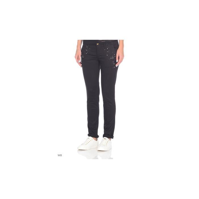 5d4ead8731 Guess Pantalon Chino Femme Berta Noir Noir Noir - Achat / Vente ...