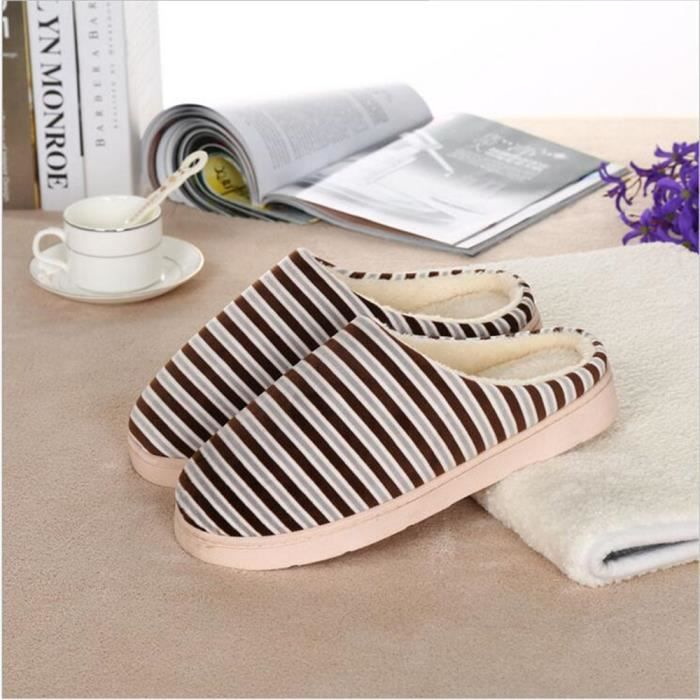 Rayures Chausson Homme Meilleure Qualité Couple Hiver Chaussons Garde Au Chaud Coton Chaussure Simple Couleur unie Beau Taille 42