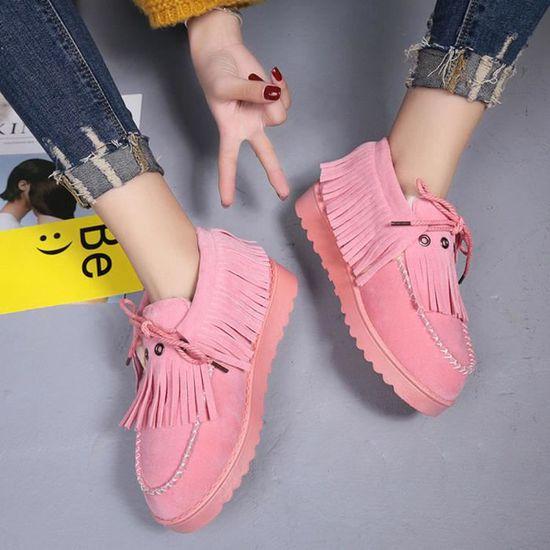 Chaudes Tassel Rose Lazy Lil61102948pk38 Fourrées D'hiver Bottes De Plates Neige Bottines Chaussures Hotskynie®femmes PiukZOX