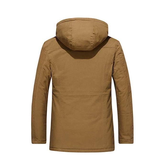 Épaissie Veste D'affaires Coat Longueur Hiver Coton À Capuche Automne Moyenne Homme Kaki Outwear nSS0pBW8H