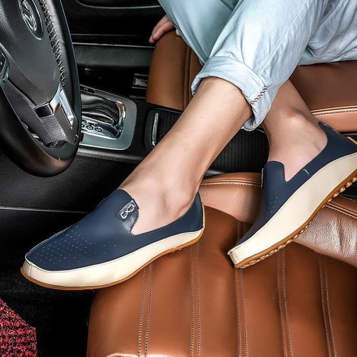 Chaussures de conduite Casual été pour les hommes Mode Cuir Mocassins respirant Taille Plus (36-46)