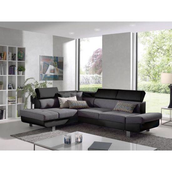 ad2425160b9 BESTMOBILIER Canapé d angle gauche LISBONA - Convertible - 5 places -  Coloris   noir gris - L252xP190cm - Achat   Vente canapé - sofa - divan -  Cdiscount