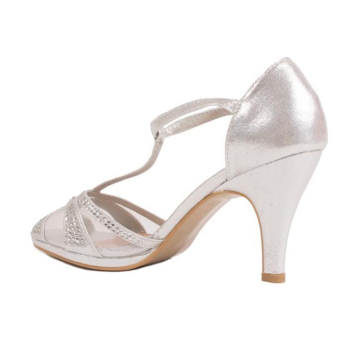 Chaussures de mariage femme argenté à strass effet pailleté à petit talon 6cm-36