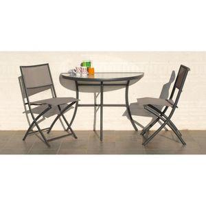 Salon Balcon Demi Lune 1 Table 2 Chaises