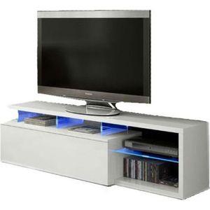 meuble tv meuble tv avec led contemporain blanc et tablettes - Vente Meuble Tv Bois
