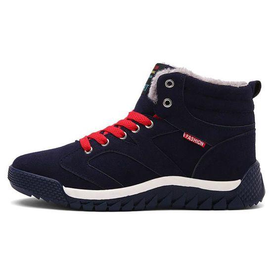 Les hommes bas garniture cheville plat cheville automne hiver bottes chaudes sport chaussures Bleu foncé ASD738  Bleu foncé - Achat / Vente basket