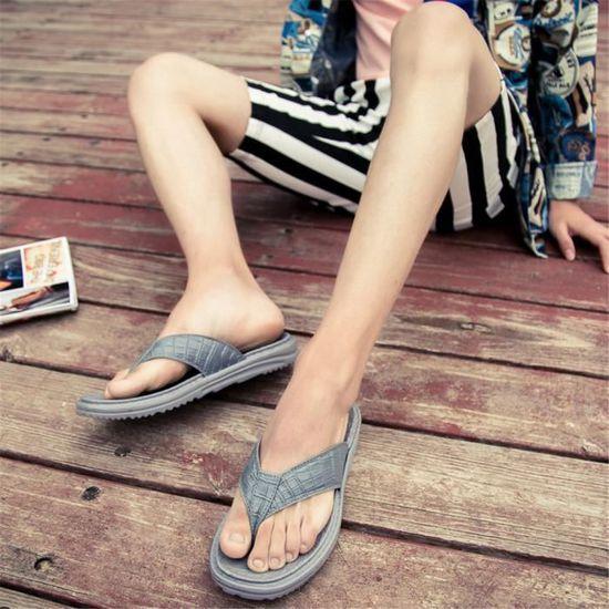Tong Homme Chaussures Qualité Supérieure Poids Léger Mode Super Extravagant Gris Gris - Achat / Vente slip-on