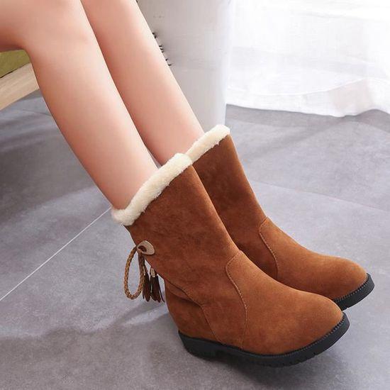 Bottes de neige d'hiver Bottines femme Chaussures Talons Bottes hiver Chaussures Mode Jaune Jaune - Achat / Vente botte