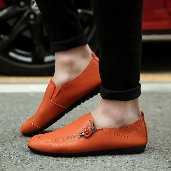 Hommes Solide yini1569 Plat Bout Couleur Chaussures Rond Cuir En Peu Bouche Couture Talon Profond De r5qYr6An