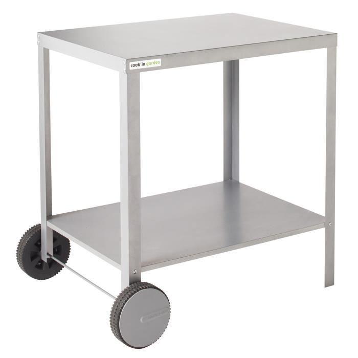 """Desserte compacte - Finition en acier """"silver"""" - Dimensions : 81x65x80 cm - Coloris : gris.CHARIOT BARBECUE - CHARIOT PLANCHA - SUPPORT BARBECUE - SUPPORT PLANCHA"""