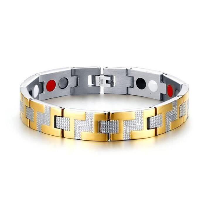 a6ecbc9a9f0 Bracelet homme Bijoux - 12MM Acier inoxydable Avec magnétique Sports Élément  Titane Aimant - Bracelet santé homme