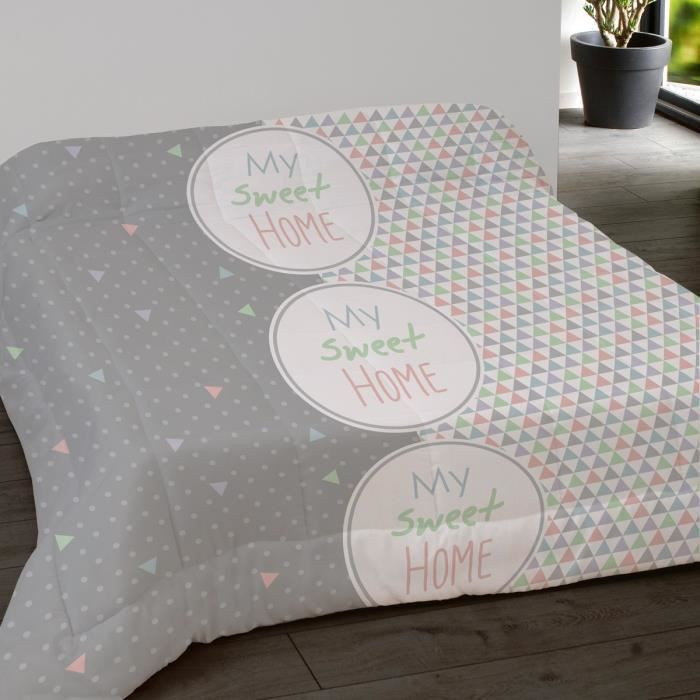 Couette Imprimee 200x200 Sweet Home Gris Achat Vente Couette