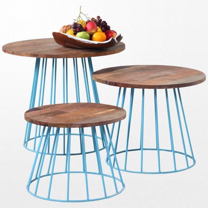Petite Table Basse En Bois Exotique Et Ses Pieds En Fer Bleu Achat