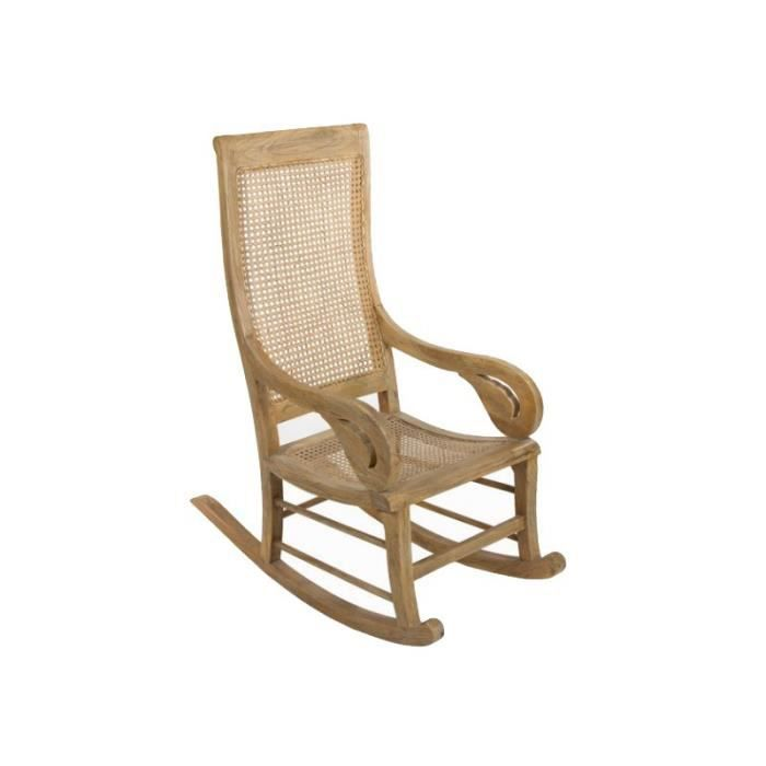 rocking chair cannage bois clair patin style colonial achat vente fauteuil cdiscount. Black Bedroom Furniture Sets. Home Design Ideas