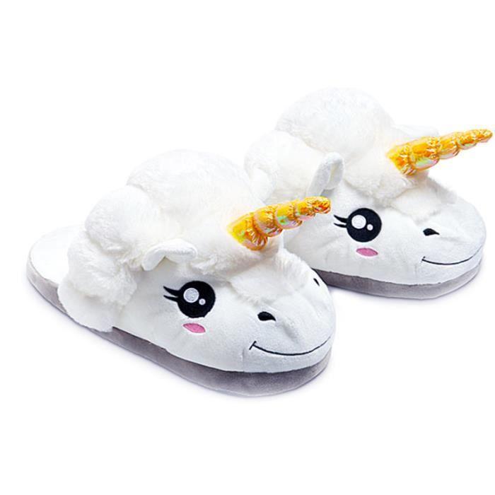 D'hiver Enfant Populaire Pantoufle licorne Luxe Qualité Supérieure Pantoufles Cartoon mignon Animal Peluche Halloween Noel Cadeau