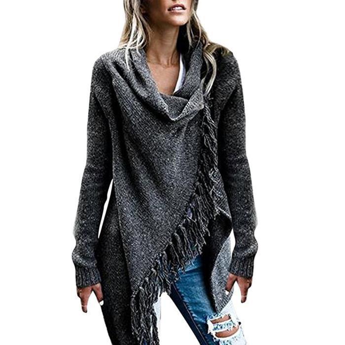 79210f51e938a6 Minetom Femme Gilet Chandail Sweater Poncho Cape En Tricot Tassel Cardigan  Automne Hiver Ouvert Chic Mode Asymétrique