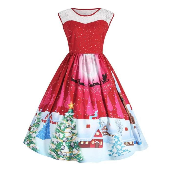 Womens Retro Christmas Decoration Print Costume Vintage Swing Plus Size Lace Panel Dress 2DDKHY Taille-42