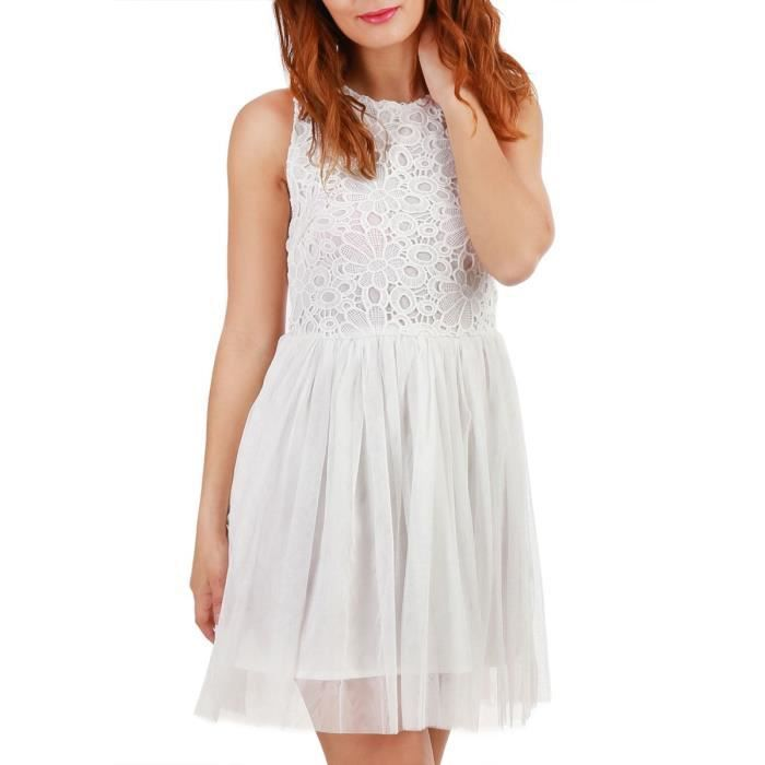 cfb7bf06ef0 Robe patineuse blanche avec tulle et crochet-S Blanc Blanc - Achat ...