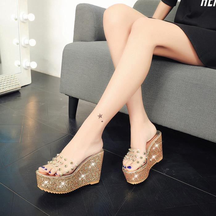 le rapport qualité prix sur des pieds à sélection spéciale de Été plateforme transparente sandales étanches sandales compensées femmes  pantoufles@Or